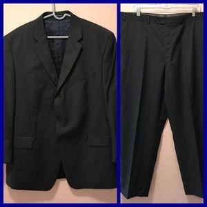 Calvin Klein Dark Gray striped Wool Suit